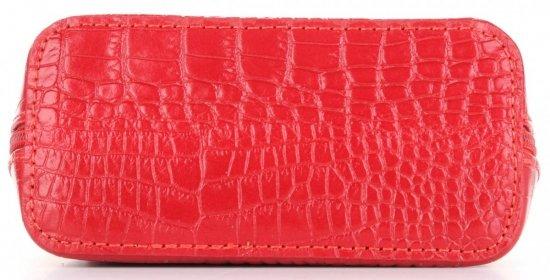 Vittoria Gotti Mała Klasyczna Listonoszka Skórzana we wzór Aligatora Czerwona