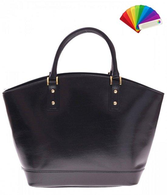 Modne Torebki skórzane typu Shopper bag łódka Czarna