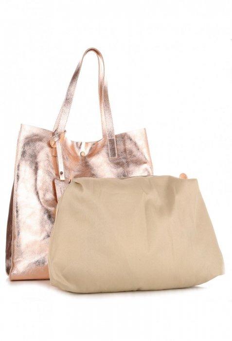 Torba Skórzana Shopper Bag z Kosmetyczką Rose Gold