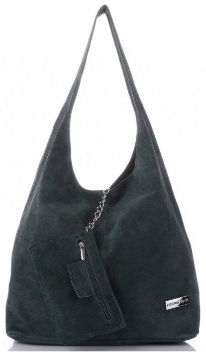13aa1585123d0 Oryginalne Torby Skórzane XL VITTORIA GOTTI Shopper Bag z Etui Butelkowa  Zieleń
