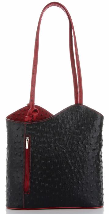 Włoska Torebka Skórzana firmy Genuine Leather Czarna z czerwonym