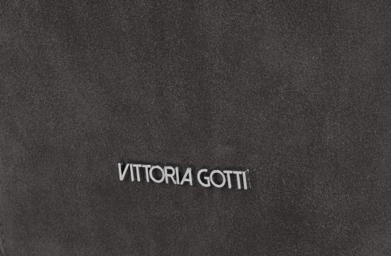 Vittoria Gotti Modna Torebka Skórzana Ekskluzywny Shopper Made in Italy Szara