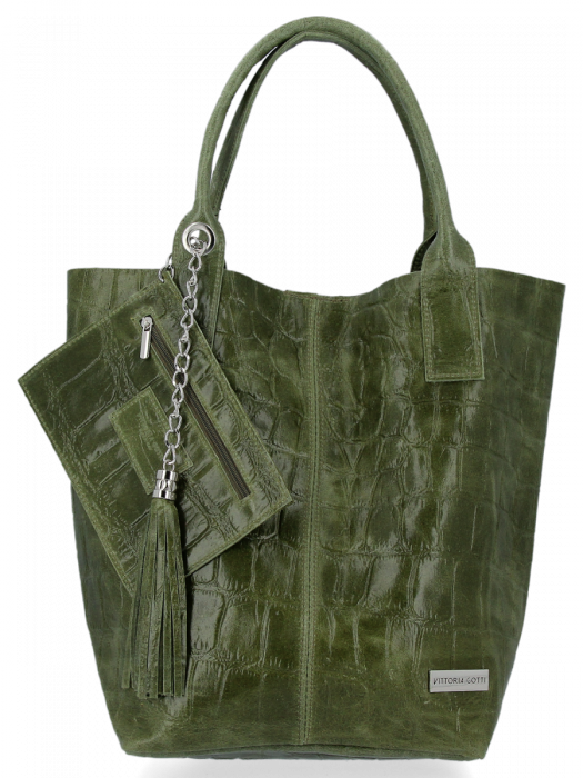 Uniwersalna Torebka Skórzana XL Shopper Bag w motyw zwierzęcy firmy Vittoria Gotti Zielona