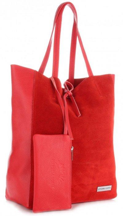 Włoskie Torebki Skórzane VITTORIA GOTTI ShopperBag z Etui Czerwona