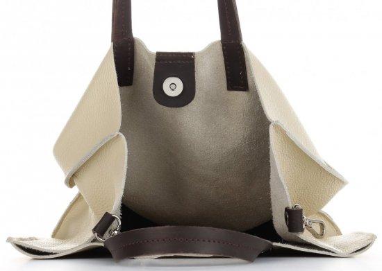 Praktyczne Torebki Skórzane 2 w 1 Shopper z Listonoszką firmy Genuine Leather Beżowa