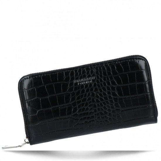 Eleganckie Portfele Damskie XL w motyw aligatora firmy Diana&Co Czarny