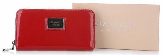 Elegancki Portfel Damski Diana&Co Firenze Lakier Czerwony