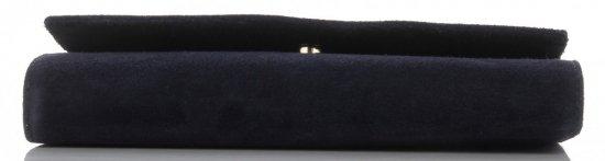 Firmowe Kopertówki Skórzane Vittoria Gotti Eleganckie Listonoszki na łańcuszku Made in Italy Granatowa