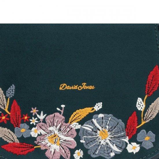 Modne Torebki Damskie Listonoszki w kwiaty firmy David Jones Butelkowa Zieleń