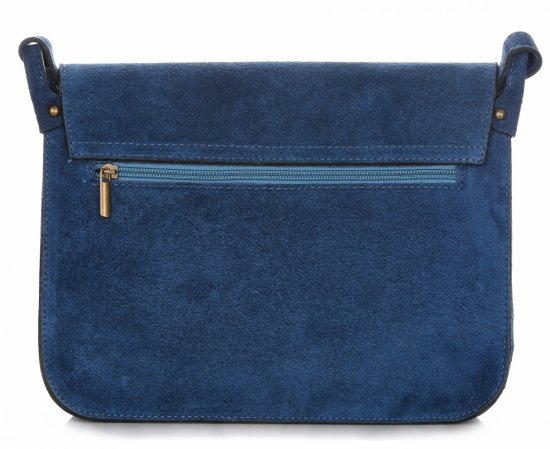 Torebki Listonoszki Skórzane Genuine Leather Niebieska