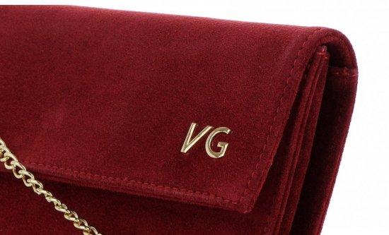 Firmowe Kopertówki Skórzane Vittoria Gotti Eleganckie Listonoszki na łańcuszku Made in Italy Bordowa
