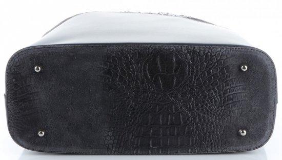 Uniwersalna Torba Skórzana Shopper XXL z Kosmetyczką wzór Aligatora Szara