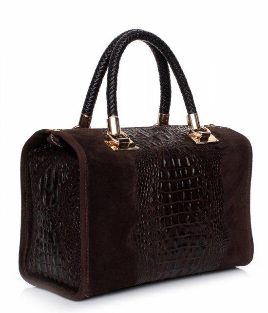 Elegancki kufer skórzany Aligator Czekolada