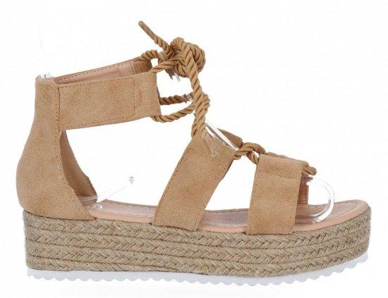 Camelowe sandały damskie espadryle na platformie firmy Givana
