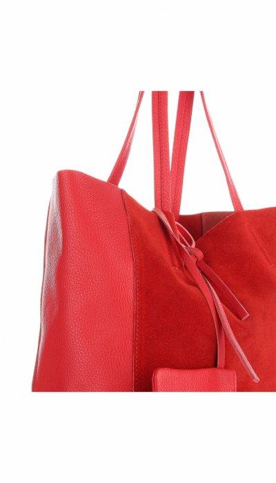 3faaebdba7d3a Włoskie Torebki Skórzane VITTORIA GOTTI ShopperBag z Etui Czerwona ...