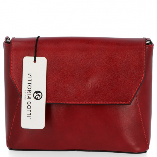 Klasyczna Listonoszka Skórzana firmy Vittoria Gotti Made in Italy Czerwona