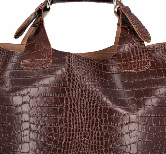 Vittoria Gotti Ekskluzywna Torebka Skórzana Shopper produkcji Włoskiej w modny wzór aligatora z Kosmetyczką Brązowa