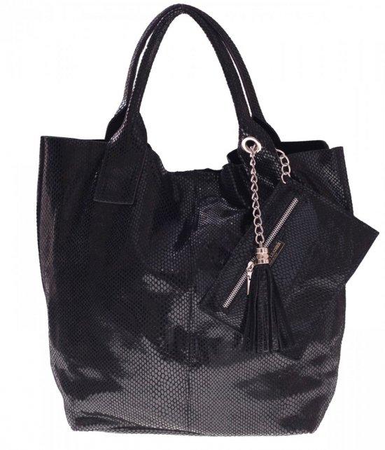 Shopper bagi tašky z lakovanej kože, čierne
