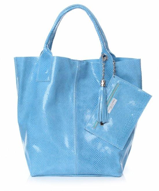 Shopper Bagi Patent Kožené Tašky Modrá