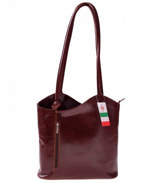 Kožená taška na batoh vyrobená v Taliansku hnedá