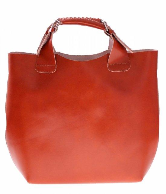 Shopperbag Kožená taška s červenou kozmetickou taškou
