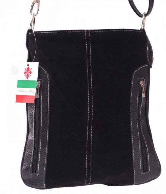 Messenger tašky vyrobené zo semišu nat. Čierny