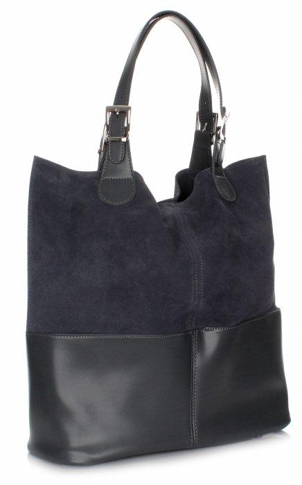 Exkluzívna Kožená Taška Shopper Bag Šedá