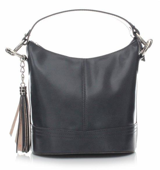 Klasická Kožená kabelka na ruky s remienkom sivá