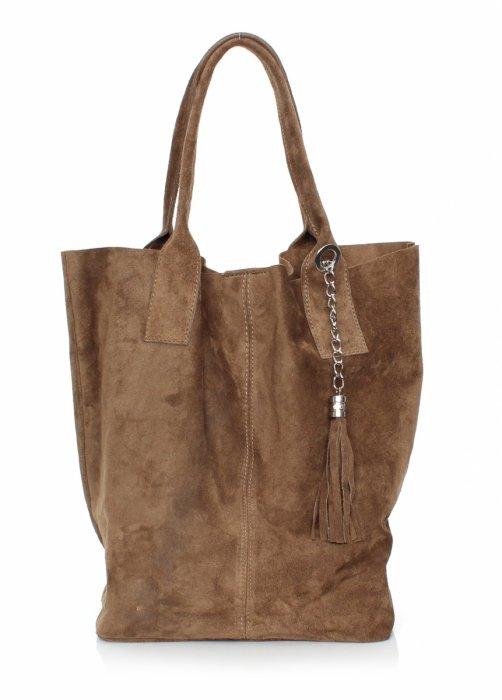 Originálna Semišová Kožená Taška Cez Rameno Shopper Bag