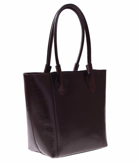 Kožená taška pravá koža rukoväť dĺžka čokoláda
