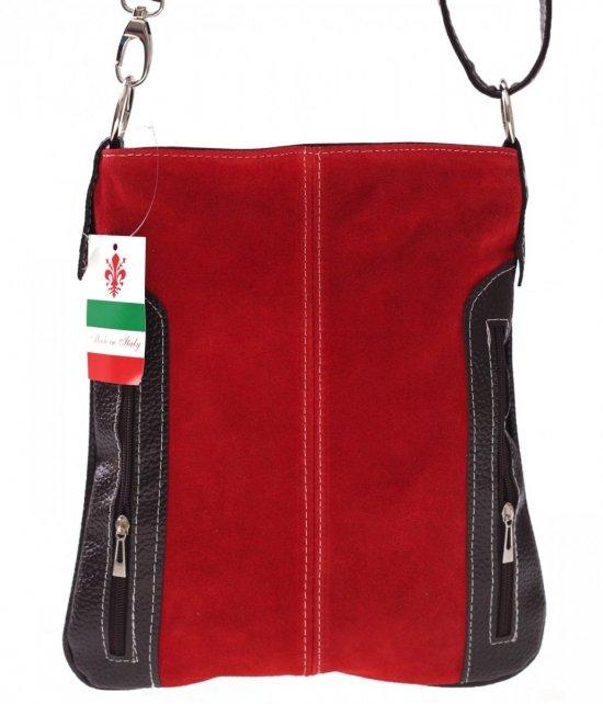 Messenger tašky vyrobené zo semišu nat. Červený