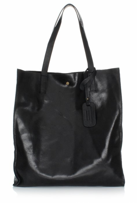 Kožená taška Shopper s kozmetickou taškou Čierna