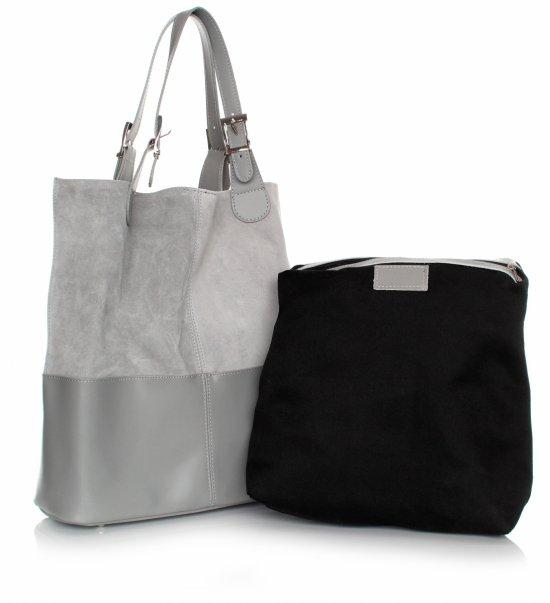 Kožená taška exkluzívna nákupná taška svetlo šedá