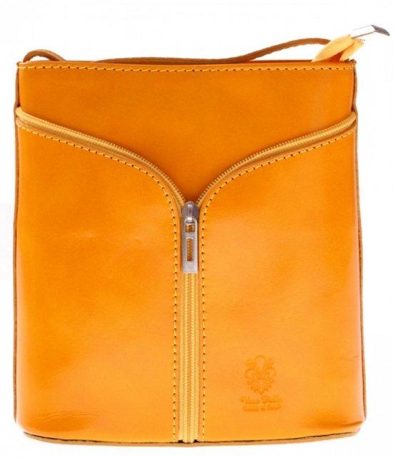 Kožená taška na Messenger vyrobená v Taliansku Žltá