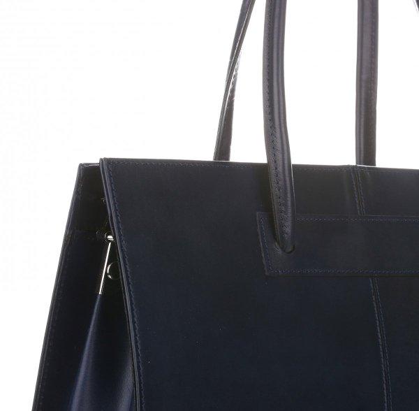 eb25880b12 Kožená kabelka aktovka A4 Genuine Leather Tmavě Modrá - Panikabelkova.cz