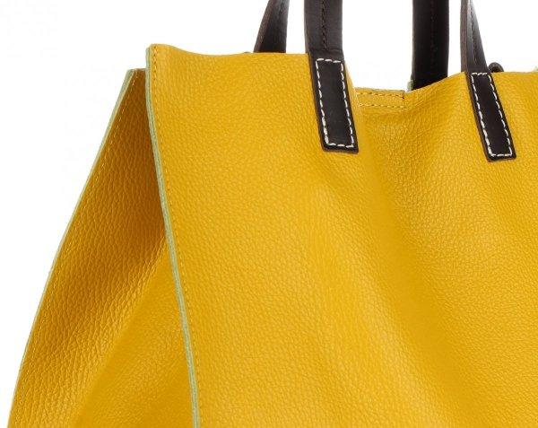 fa0fa0aa04827 Praktyczne Torebki Skórzane 2 w 1 Shopper z Listonoszką firmy Genuine  Leather Musztardowa
