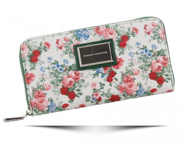 d0a77c5a4f700 Modny Portfel Damski XL wzór w kwiaty Diana Co Multikolor Zielony ...