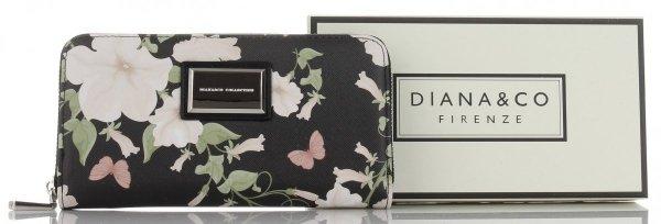 cc02b7d5cf345 Stylowe Portfele Damskie w kwiaty marki Diana Co Multikolor Czarny ...