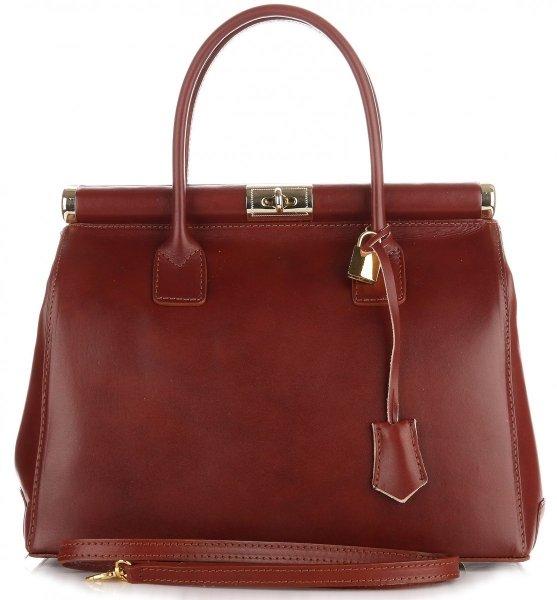 82b16fe00af54 Duży Włoski Kufer ze Skóry Licowej Genuine Leather Brąz ...