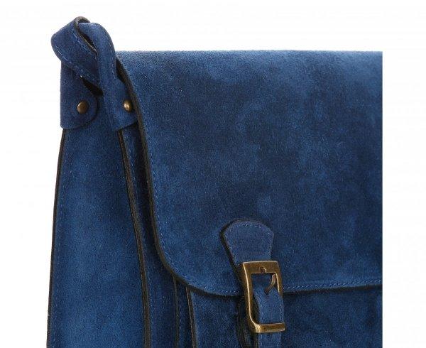 d8c82b93f5d12 Torebki Listonoszki Skórzane Genuine Leather Niebieska ...