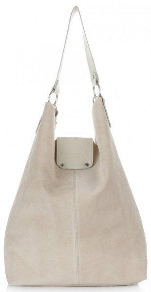 f8744e7a56a47 Duża Torba Skórzana Shopper XXL Vittoria Gotti Made in Italy zamsz  naturalny wysokiej jakości Beżowa