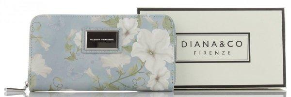c018c0e60330f Stylowe Portfele Damskie w kwiaty marki Diana Co Multikolor Błękitny ...