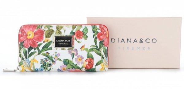 d73edca5c1de0 Modny Portfel Damski Diana&Co Firenze wzór Kwiatów Czerwony