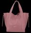 Vittoria Gotti Włoska Torebka Skórzana Shopper Bag z Kosmetyczką Brudny Róż