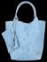 Włoskie Torebki Skórzane Shopper Bag w motyw aligatora firmy Vittoria Gotti Błękitna