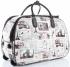 Torba Podróżna na kółkach ze stelażem Or&Mi Newspaper Paris&London Multikolor - Biała