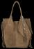 Modna Torebka Skórzana Zamszowy Shopper Bag w Stylu Boho firmy Vittoria Gotti Ziemista