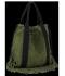 Vittoria Gotti Włoska Torebka Skórzana Shopper Bag w stylu Boho Zielona