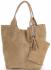 Włoska Torebka Skórzana  Shopper bag Zamsz Naturalny Ciemno Beżowa