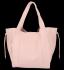 Vittoria Gotti Włoska Torebka Skórzana Shopper Bag z Kosmetyczką Pudrowy Róż